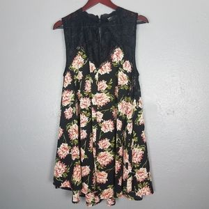Umgee Boho Black Lace Floral Print Mini Dress M